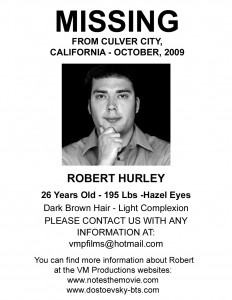NOTES Robert Hurley Missing Poster