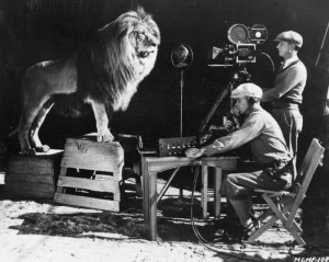 Filming the MGM roaring lion.