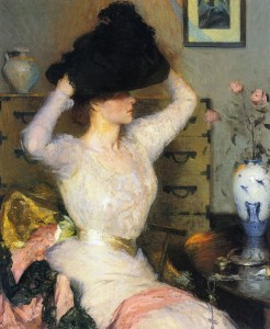 Frank W. Benson 1862-1951 Lady Trying on a Hat 1904: Frank W. Benson