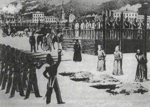 Sketch of the Petrashevsky Socialist Circle mock execution (Dostoyevsky was a member of the Circle)