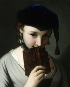 A Young Woman in a Russian Hat Holding a Book by Pietro Antonio Rotari