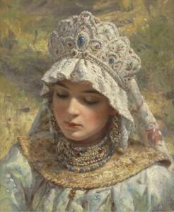 Konstantin Egorovich Makovsky - Russian Peasant Beauty Wearing a Kokoshnik