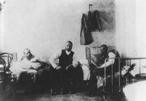 Dostoyevsky (the first from the left) in prison.