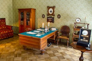 Dostoevsky's study with the clock reflecting the time of the famous novelist's death.